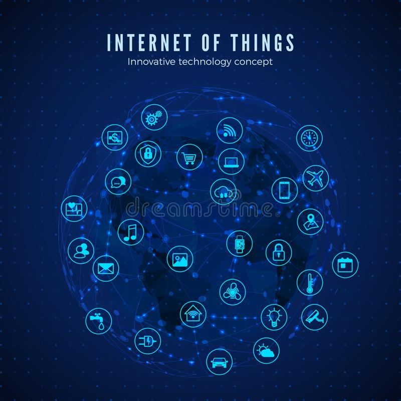 Internet of things. IOT concept. Global network connection. Monitoring and control smart systems icons on global network and map royalty free illustration