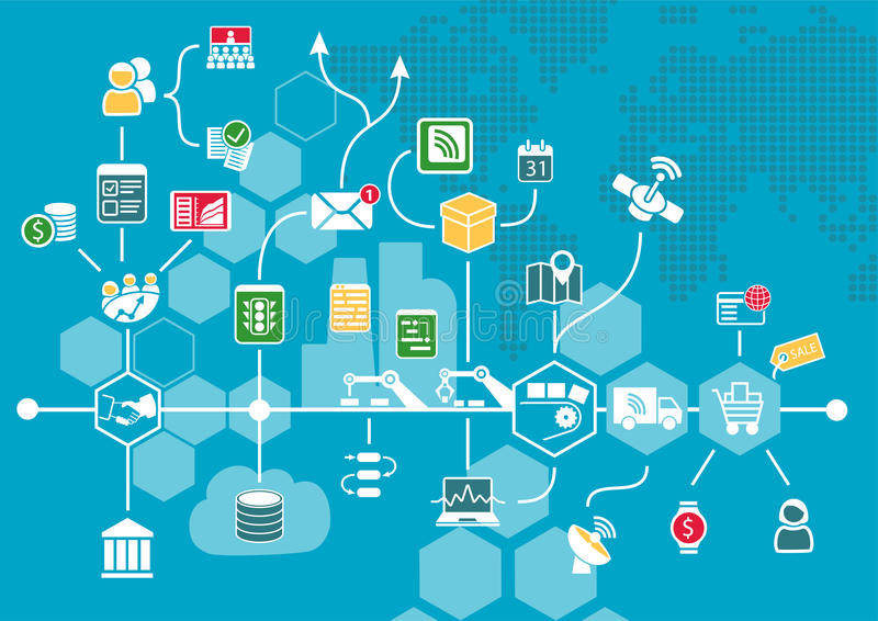 Internet of things (IOT) and digital business process automation concept. Internet of things (IOT) and digital business process automation concept supporting stock illustration