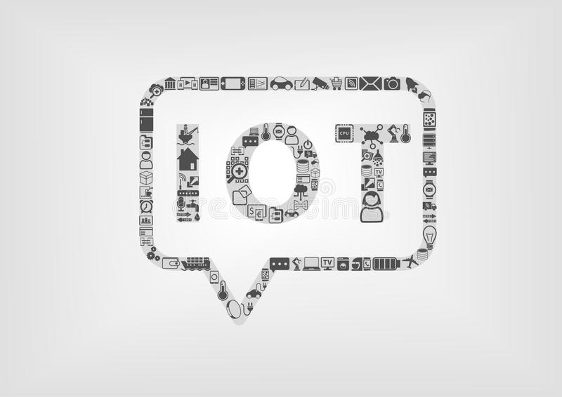 Internet of Things IOT logo and concept as illustration. Using flat design stock illustration