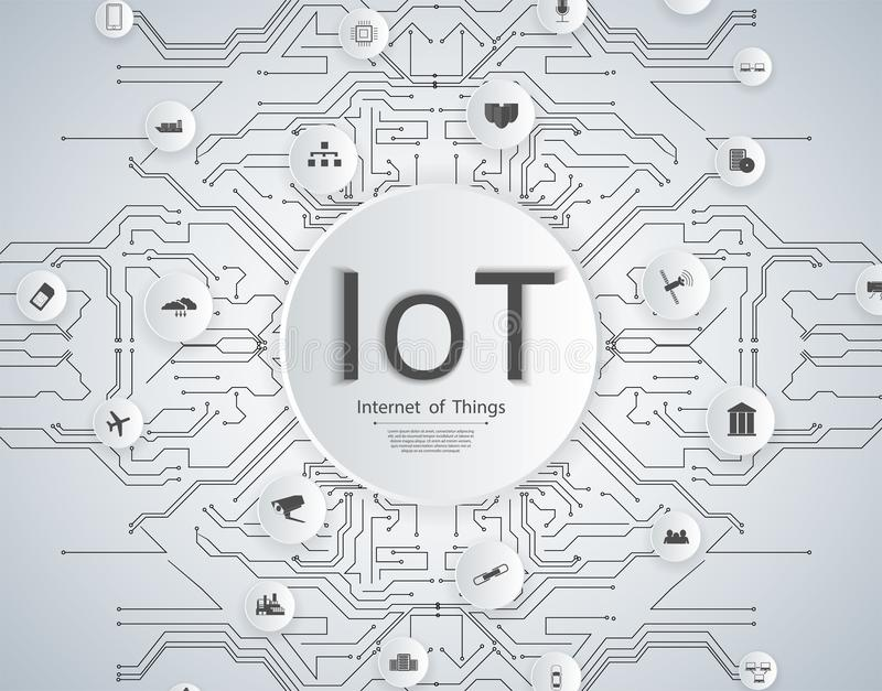 Internet of things IoT network concept for connected smart devices. Spider web of network connections icons stock illustration