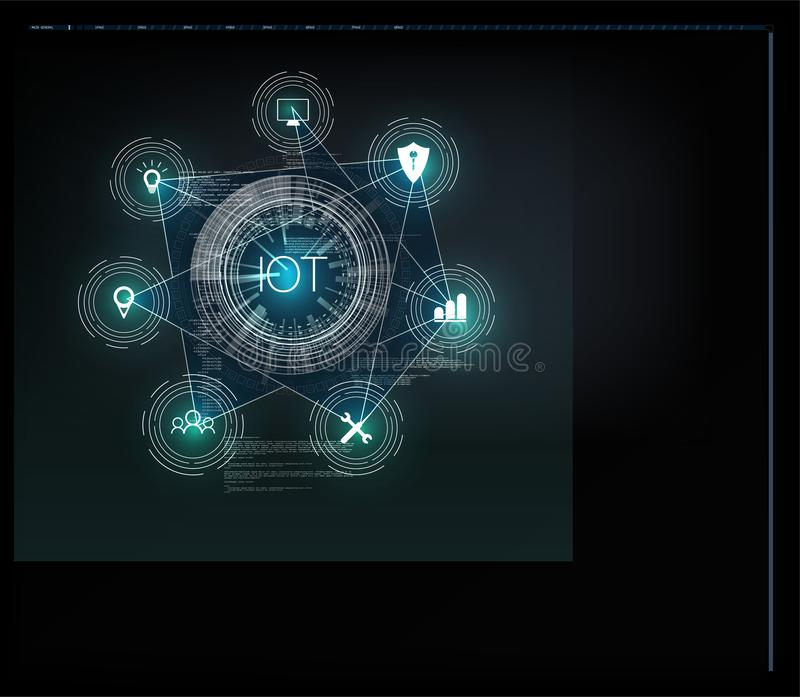Internet of things IoT and networking concept for connected devices. Spider web of network connections with on a futuristic blue background vector illustration