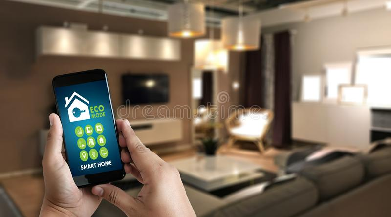 Internet of things iot Remote home control to modern living r stock images