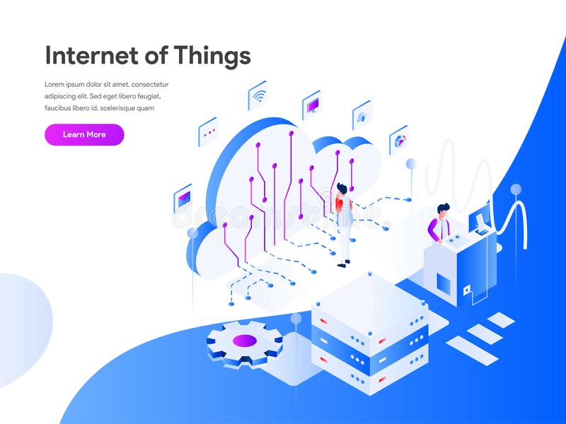 Internet of Things Isometric Illustration Concept. Modern flat design concept of web page design for website and mobile website. vector illustration