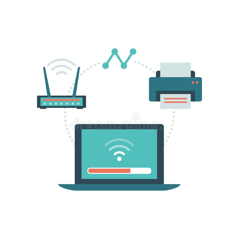 Internet of things. Laptop connecting with router and printer: wireless connection and peripheral devices concept royalty free illustration