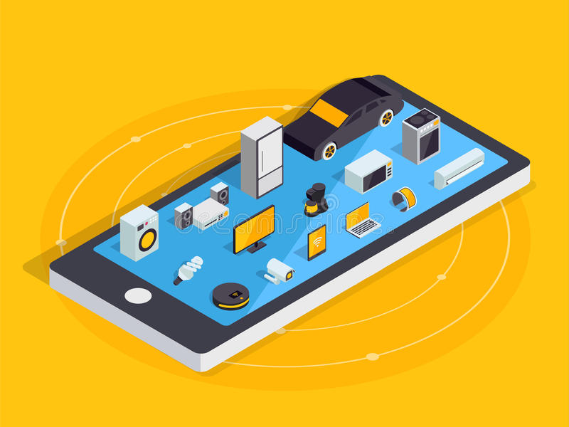 Internet of things layout. IOT online synchronization and connection via smartphone wireless technology. Smart home concept with. Isometric icons of home vector illustration