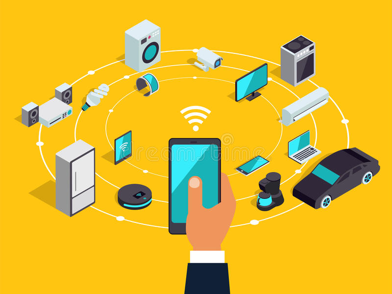 Internet of things layout. IOT online synchronization and connection via smartphone wireless technology. Smart home concept with. Isometric icons of home royalty free illustration