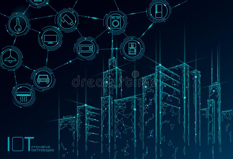 Internet of things low poly smart city 3D wire mesh. Intelligent building automation IOT concept. Modern wireless online. Control icon urban cityscape vector illustration