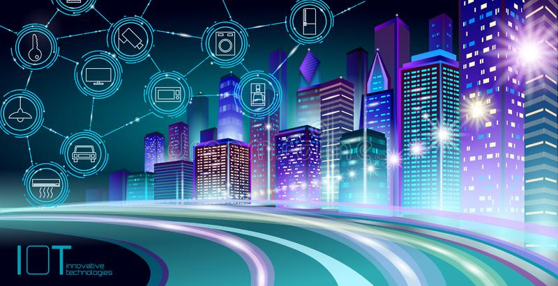 Internet of things low poly smart city 3D wire mesh. Intelligent building automation IOT concept. Modern wireless online royalty free illustration