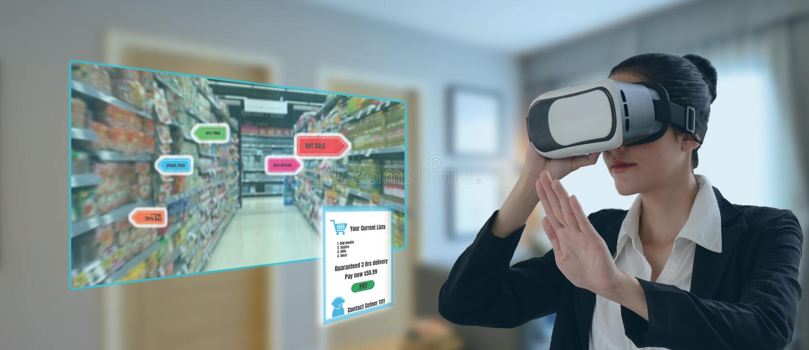 Internet of things marketing concepts,smart augmented reality,customer use virtual glasses to  order the product that search by ai. Application with hot deal royalty free stock photo