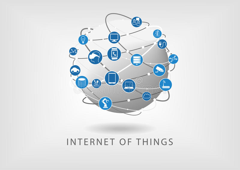 Internet of things modern connected world illustration as icons in flat design. Globe with various connections between devices such as smart phone, sensors and stock illustration