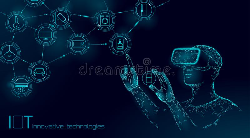 Internet of things modern operation by vr glasses innovation technology concept. Wireless communication augmented vector illustration