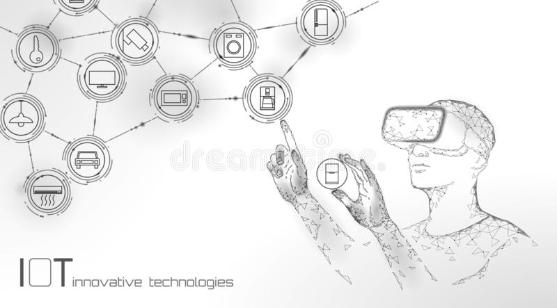 Internet of things modern operation by vr glasses innovation technology concept. Wireless communication augmented royalty free illustration
