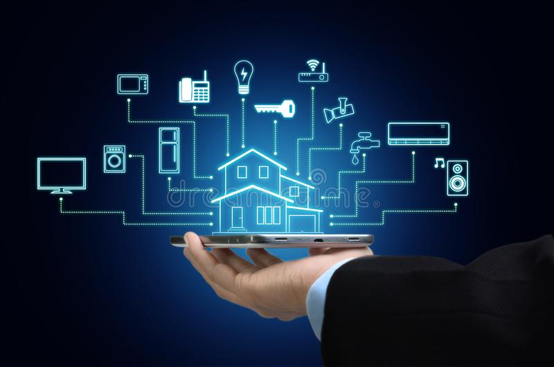 Internet of things and smart home concept stock photos