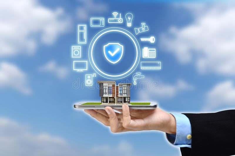 Internet of things and smart home concept stock images