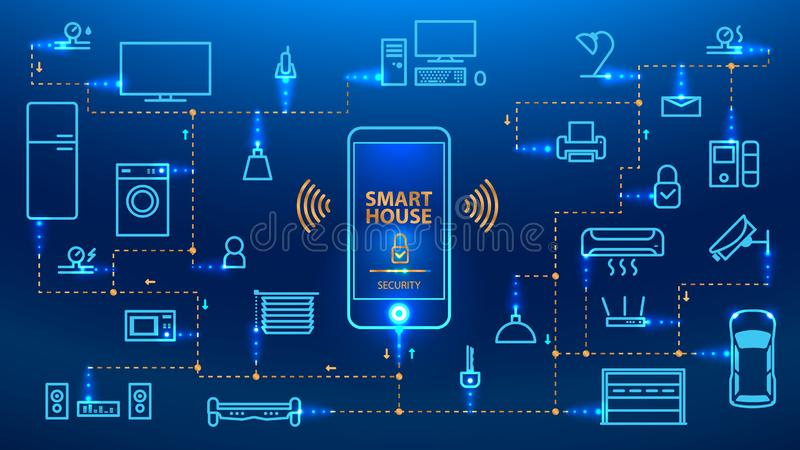 The Internet of things. IOT. The smartphone control the devices in the house. The Internet of things. The smart phone control the devices in the house. Smart vector illustration