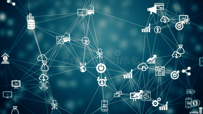 Internet of things, symbol of IT industry. Internet of things, background from the chaotically slow moving connected things stock illustration