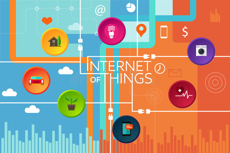 Internet of things thing. Interconnected device and object iot stock illustration