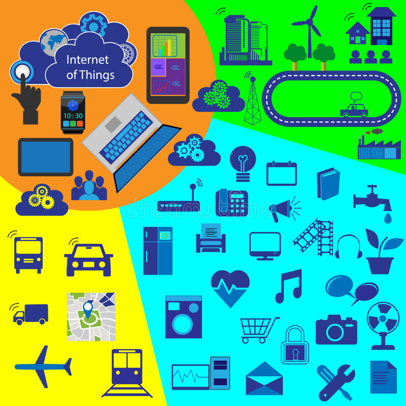 Internet of things, vector icon collection stock illustration