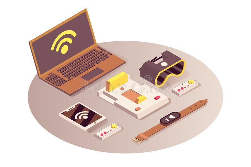 Internet of things vector isometric illustration. Cloud computing service, wifi wireless connection, telecommunication vector illustration
