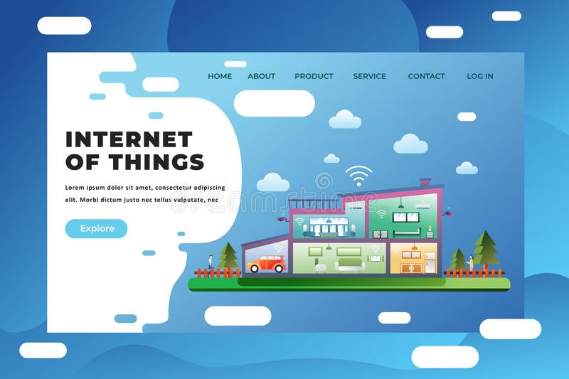 Internet of Things - Web Page Header Landing Page Template Illustration vector illustration