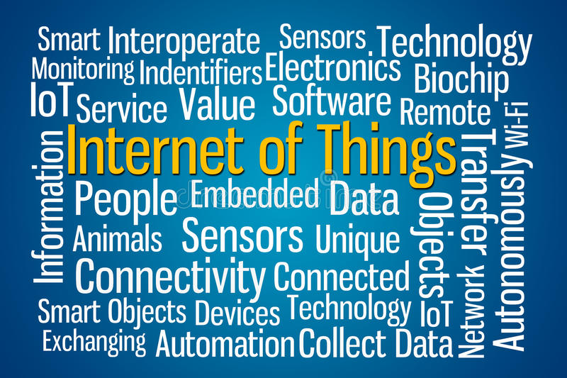 Internet of Things. Word cloud on blue background stock illustration