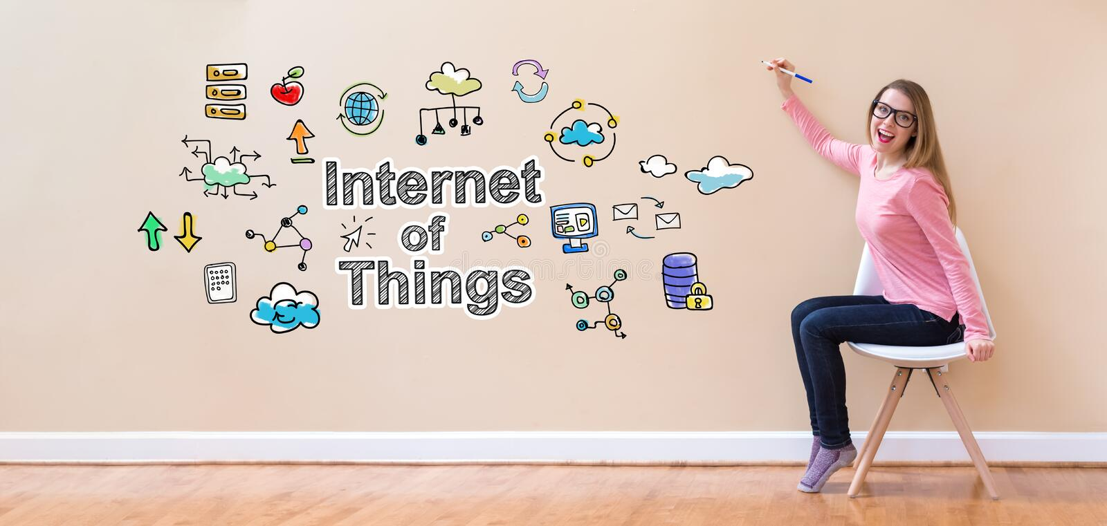 Internet of Things with young woman holding a pen. In a chair royalty free stock photos