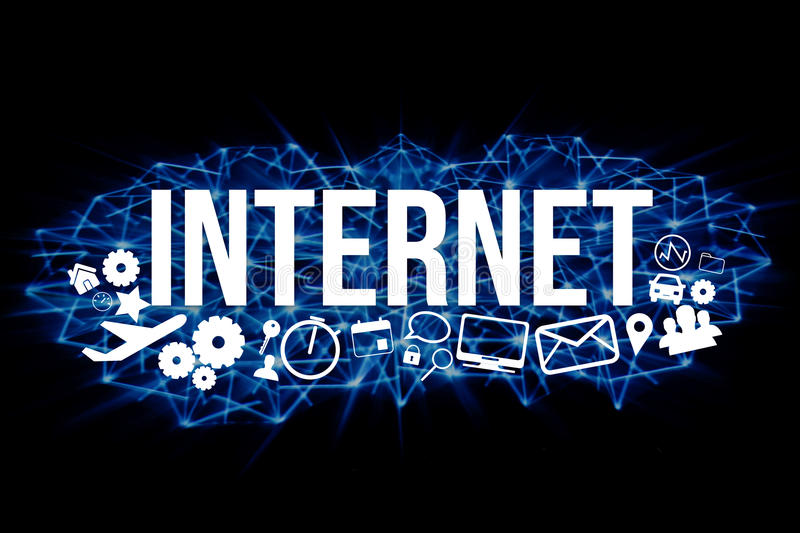 Internet title isolated on a background and surounded by multimedia icons - Internet concept. View of a Internet title isolated on a background and surounded by royalty free illustration