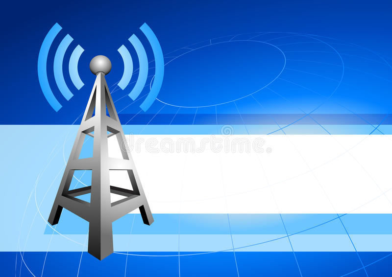 Internet Tower With Radio Waves Background Icon Stock