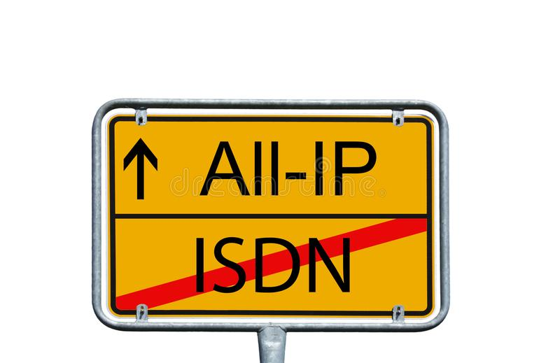 Internet. Town sign with the words All IP and ISDN royalty free stock image
