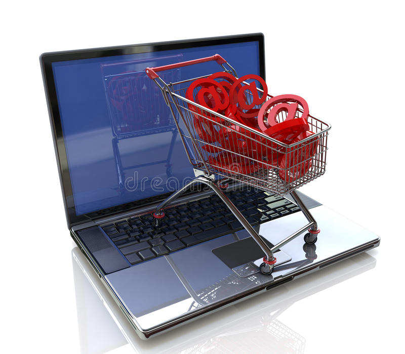 Internet trade. For registration information related to network and shopping stock illustration