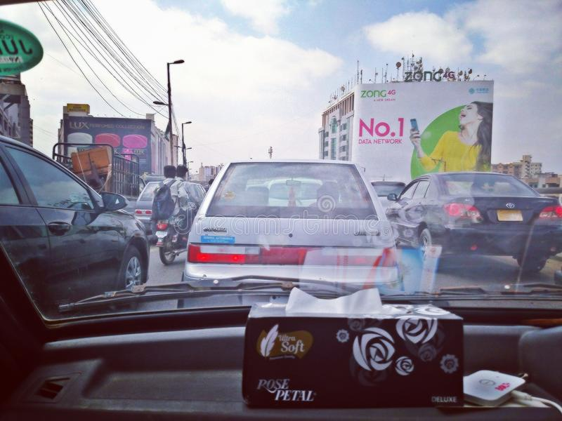 Rush hour Karachi traffic royalty free stock photo