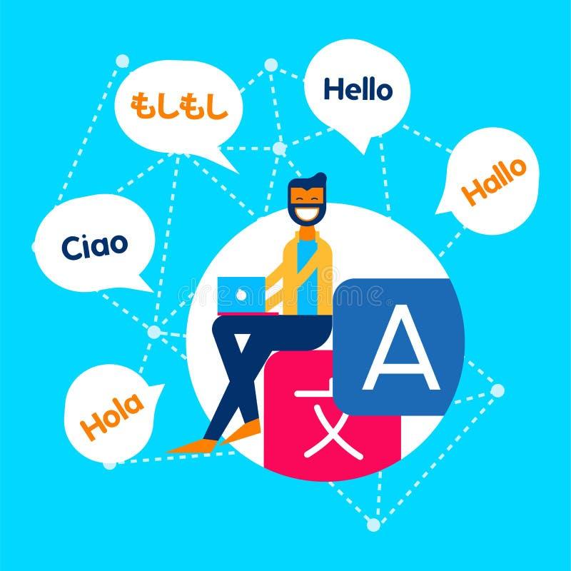 Italian To English Translation Online: Online Translation App Concept Stock Vector