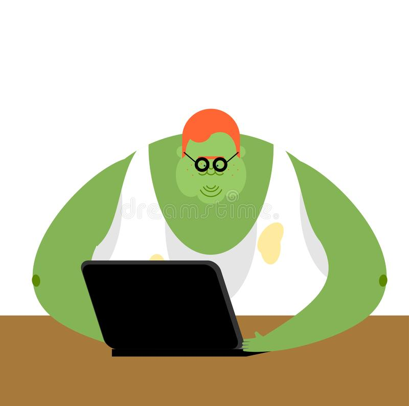 Internet trol. Big green monster and laptop. Vector illustration.  royalty free illustration