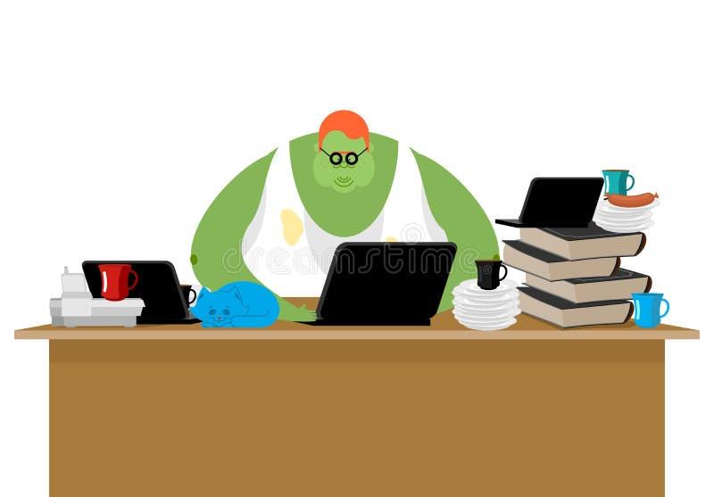 Internet trol. Big green monster and laptop. Vector illustration.  stock illustration