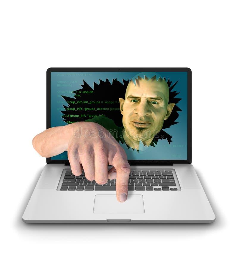 Internet Troll con il dito sul bottone royalty illustrazione gratis