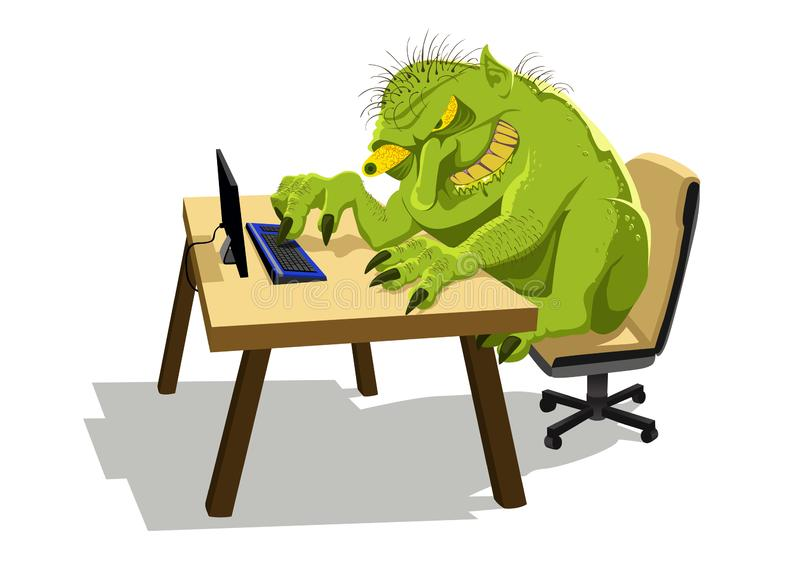 Internet Troll. A drooling, evil internet troll depiction isolated on a white background vector illustration