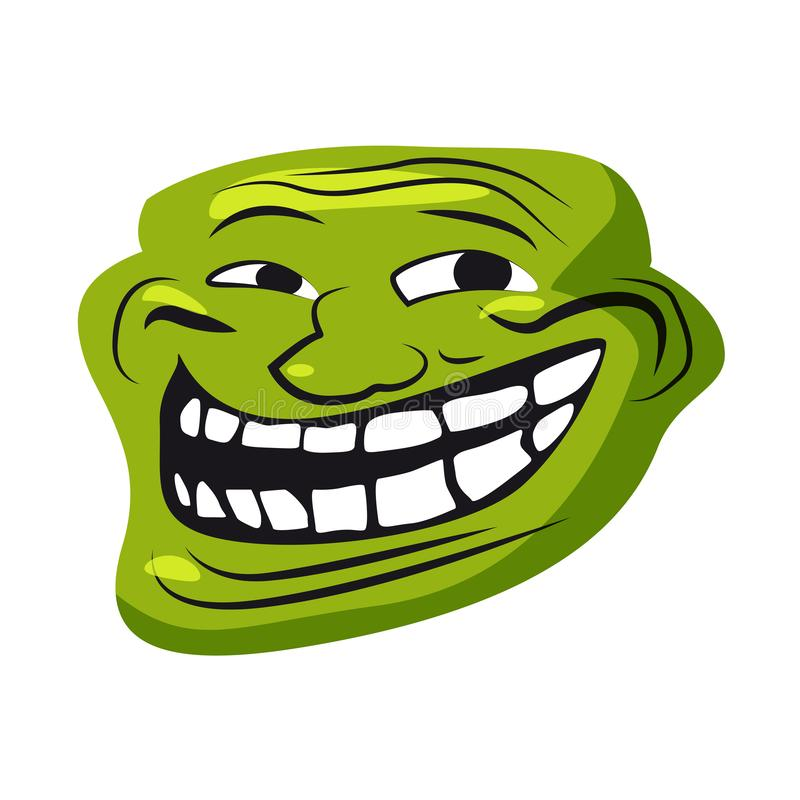Internet Troll, meme, character face, internet folklore, social networking, forums, for stickers, banner, vector royalty free illustration