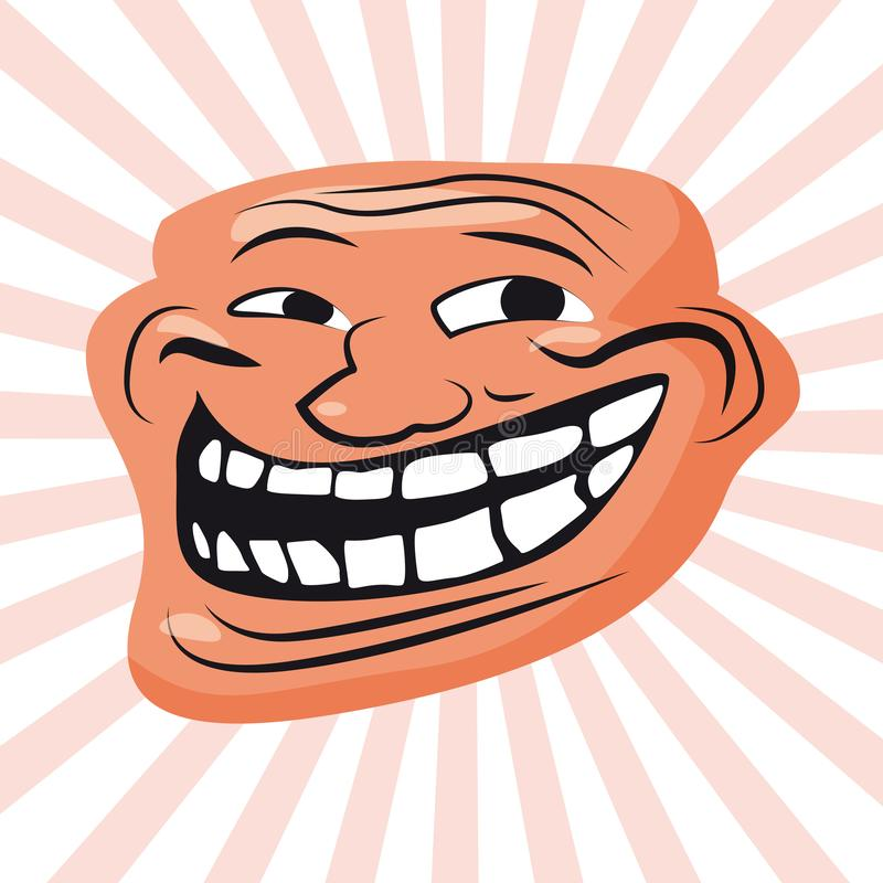Internet Troll, meme, character face, internet folklore, social networking, forums, for stickers, banner, vector. Internet Troll, meme, character of royalty free illustration