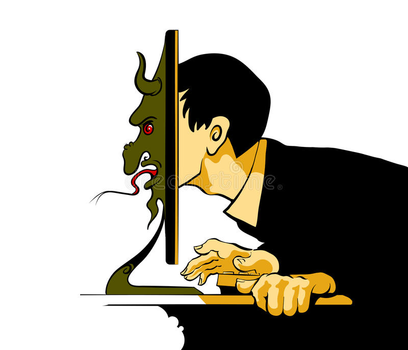 Internet Troll sitting at the computer. Vector illustration without gradients royalty free illustration