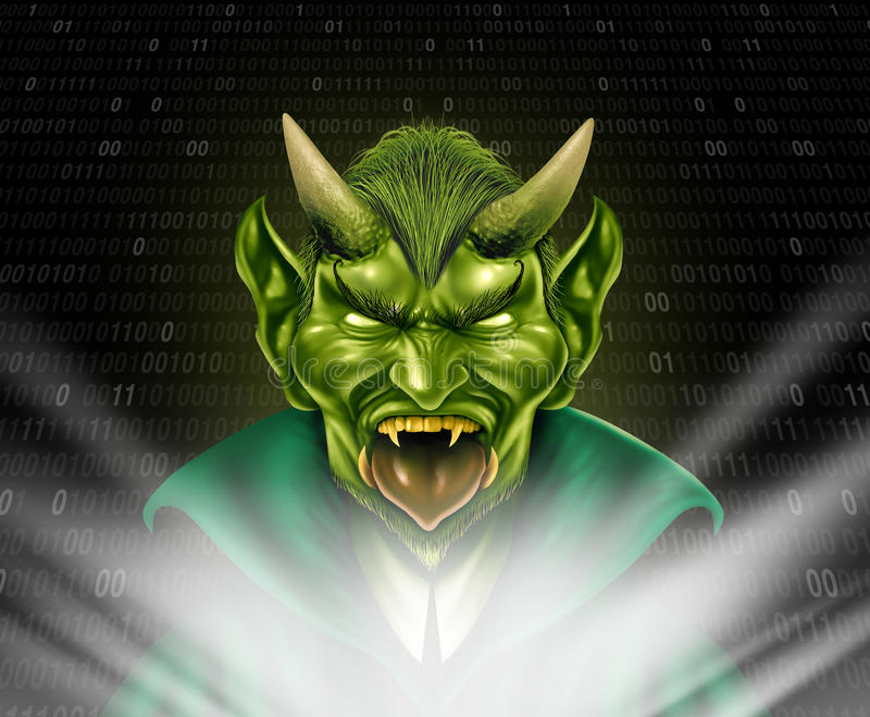 Internet Troll. And trolling monster using social media to provoke torment and anonymously bully members of the online community with 3D internet elements vector illustration