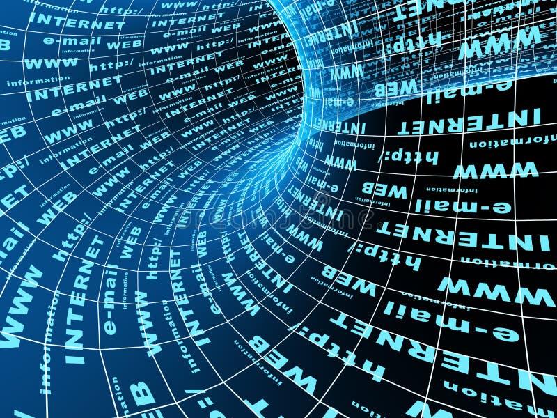 Internet um símbolo - um túnel 3d abstrato ilustração stock