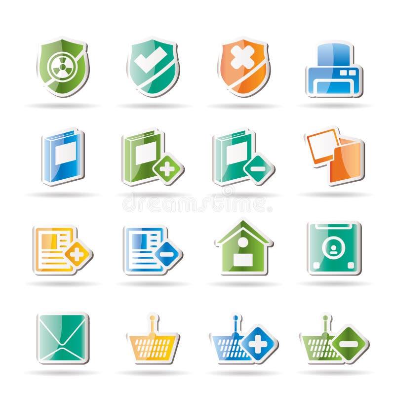 Internet und sitetasten und -ikonen vektor abbildung
