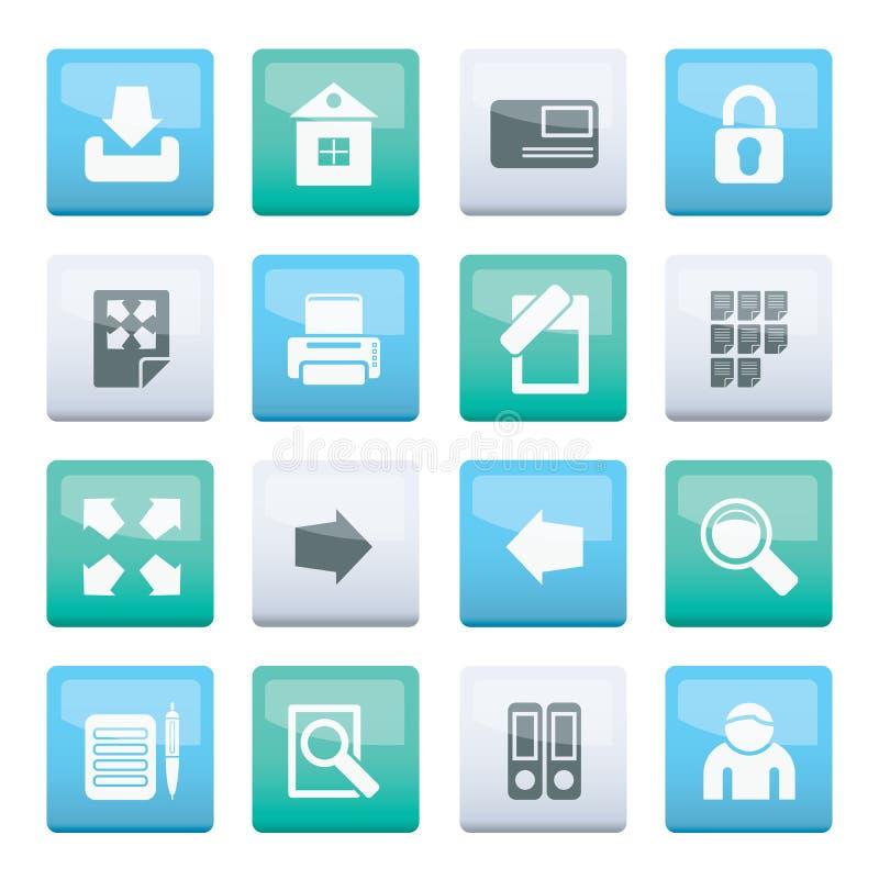 Internet-und Website-Ikonen über Farbhintergrund lizenzfreie abbildung