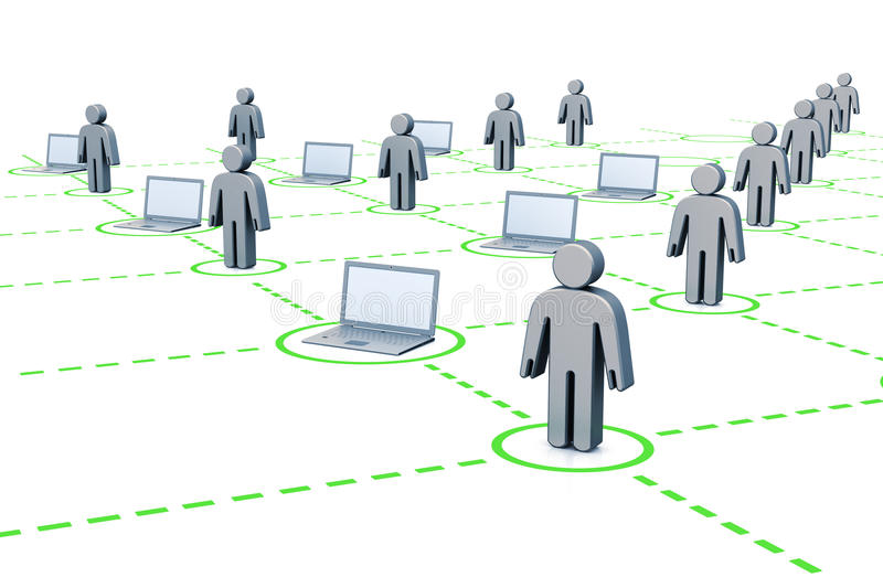 Internet users. 3d render white isolated vector illustration