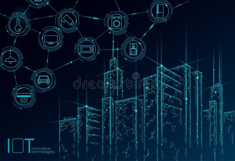 Internet van 3D de draadnetwerk van de dingen laag poly slim stad Het intelligente concept van de de bouwautomatisering IOT Moder vector illustratie