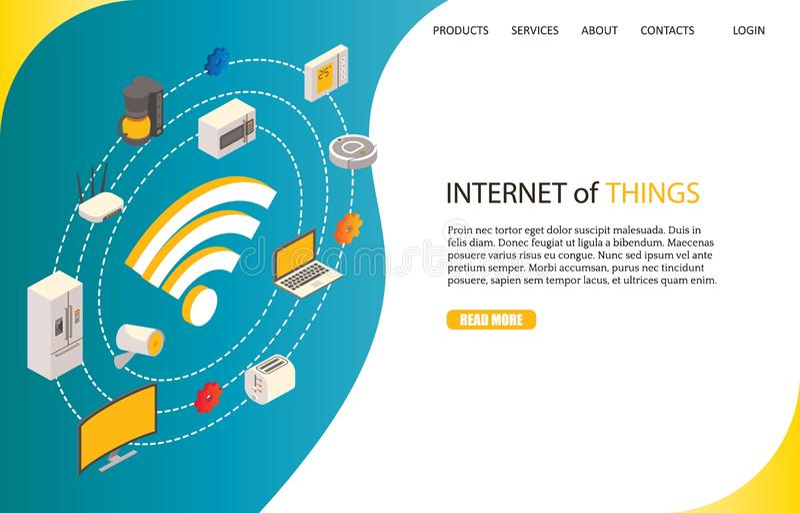 Internet van de website vectormalplaatje van het dingenlandingspagina royalty-vrije illustratie