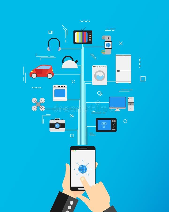 Internet van dingen en het concept van de huisautomatisering stock illustratie