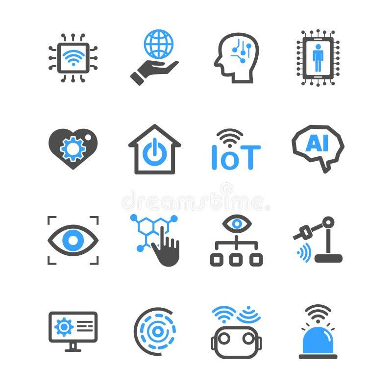 Internet van dingen en Kunstmatige intelligentiepictogrammen Robot en Industrieel technologieconcept Glyph en overzichtenslag tek royalty-vrije illustratie