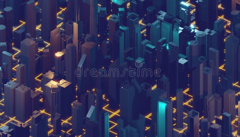 Internet van Dingen Futuristische technologieachtergrond, cyberspace spelstad het 3d teruggeven royalty-vrije illustratie