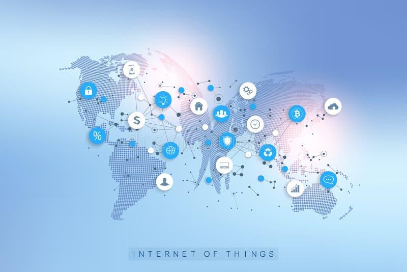Internet van dingen IoT en het conceptontwerpvector van de netwerkverbinding Sociaal media netwerk en marketing concept met royalty-vrije illustratie